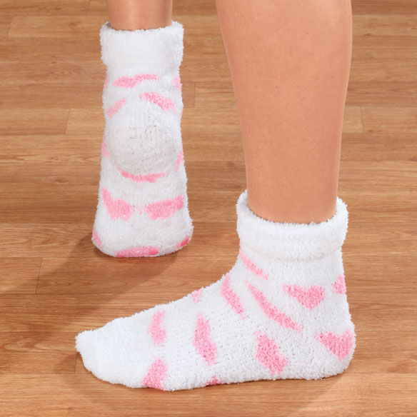 Fluffy Chenille Socks with Grippers, 2 pr. - View 5