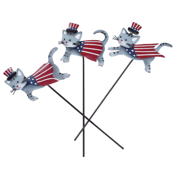 Metal Patriotic Cat Planter Stakes by Maple Lane Creations™ - Set of 3 - View 2