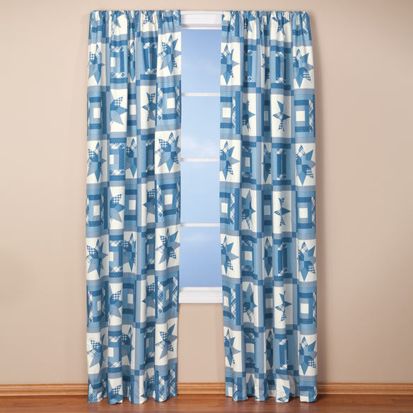 Star Quilt Print Energy Saving Curtains - View 4