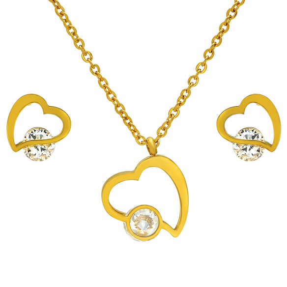 CZ Heart Earring and Necklace Set - View 2