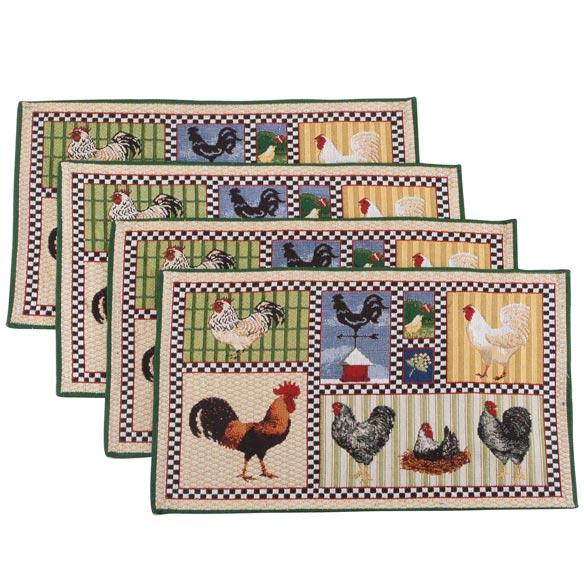 Roosters & Chickens Placemats, Set of 4 - View 2