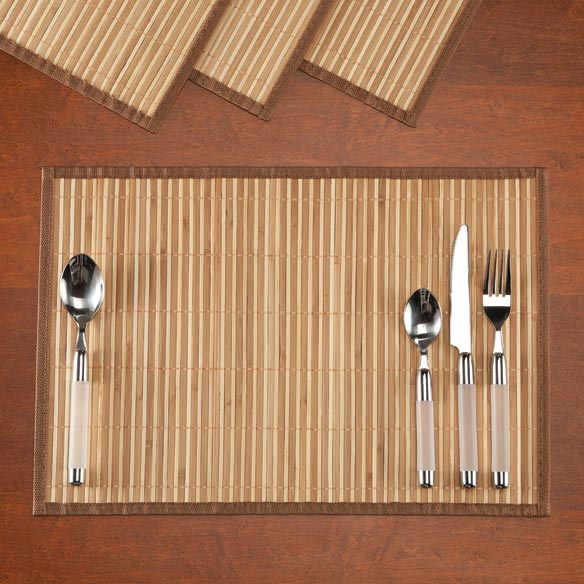 Striped Bamboo Placemats, Set of 4 - View 2