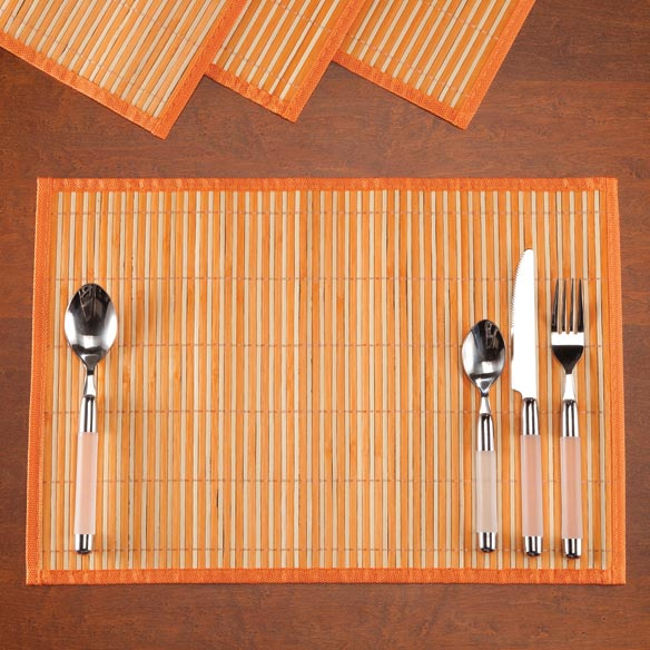 Striped Bamboo Placemats, Set of 4 - View 3