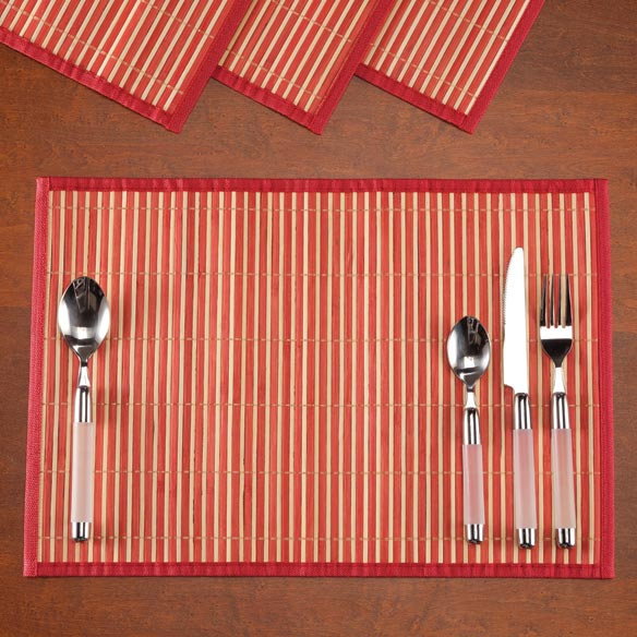 Striped Bamboo Placemats, Set of 4 - View 4