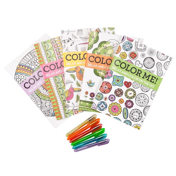 Adult Mini Coloring Books, Set of 5 with Gel Pens - View 3