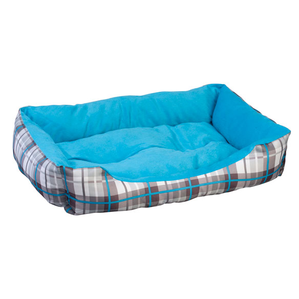 Blue & Grey Plaid Pet Bed - View 2