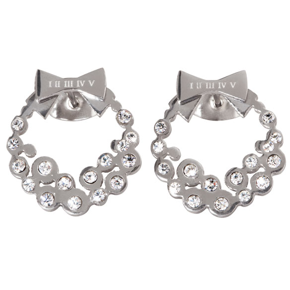 Diamond Look Holiday Wreath Earrings - View 3
