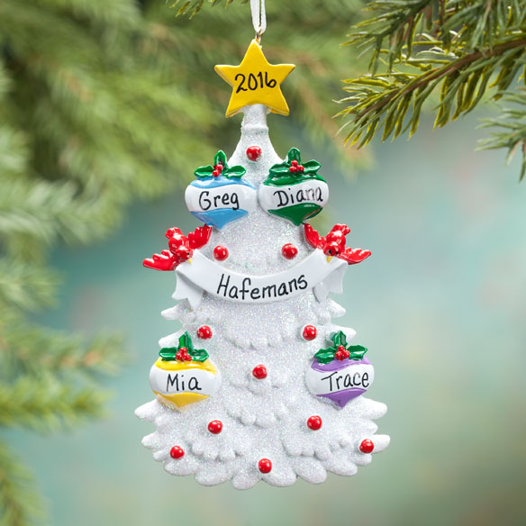 Personalized White Glitter Tree Ornament - View 2