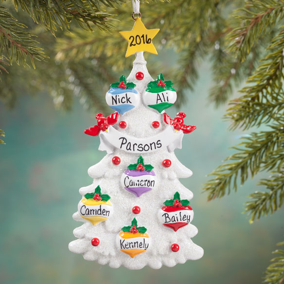 Personalized White Glitter Tree Ornament - View 4