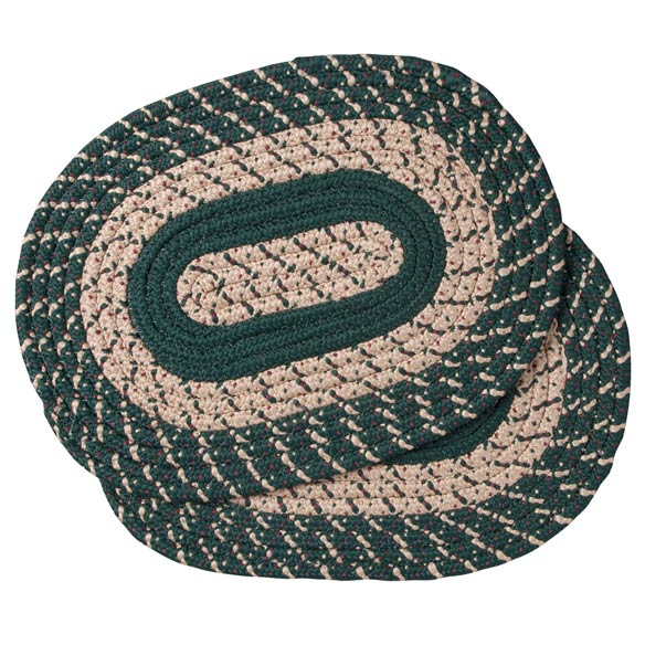 Hunter Green Braided Placemats, Set of 2 - View 2