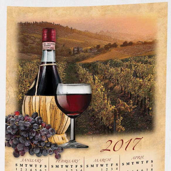 Personalized Tuscan Vineyard Calendar Towel - View 2