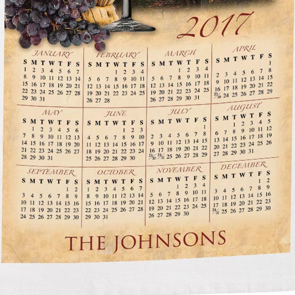 Personalized Tuscan Vineyard Calendar Towel - View 3