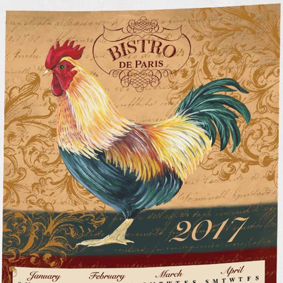 Personalized Rooster Calendar Towel - View 2