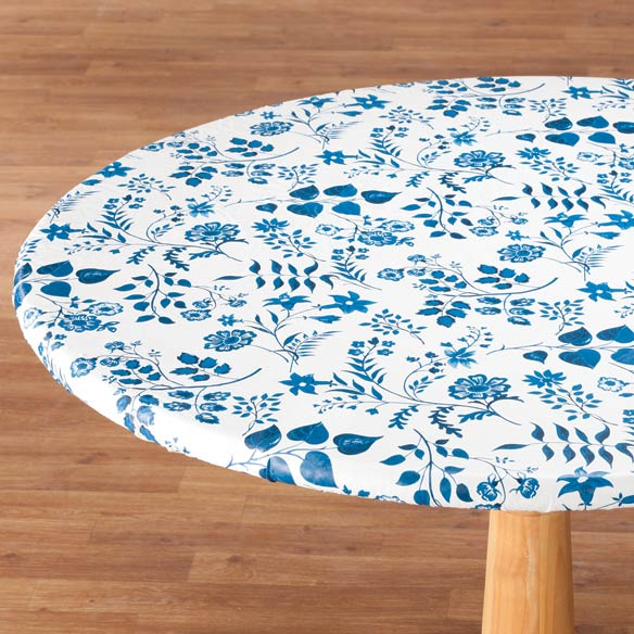 Flowing Flowers Vinyl Elasticized Table Cover - View 3