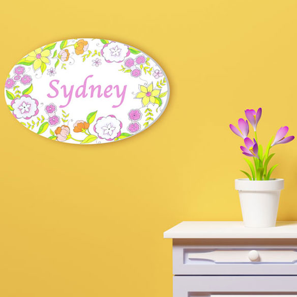 Personalized Floral Drawing Name Plaque - View 2