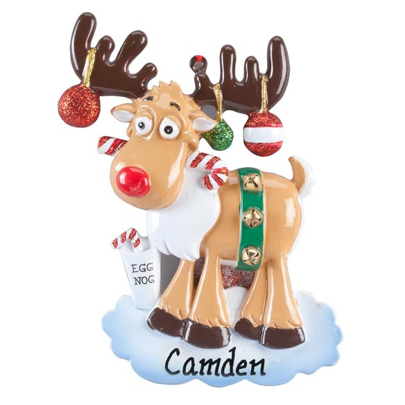 Personalized Eggnog Moose Ornament - View 2