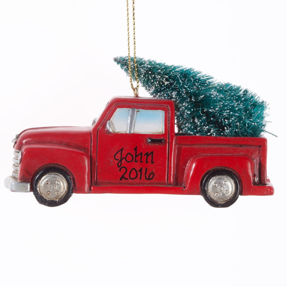 Personalized Red Truck with Tree Ornament - View 2