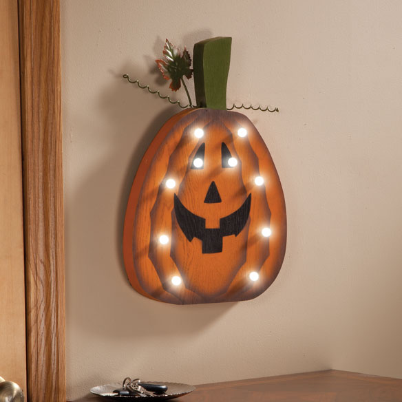 Wooden Lighted Jack-O-Lantern - View 2