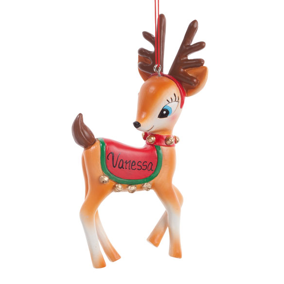 Personalized Vintage Reindeer Ornament - View 2