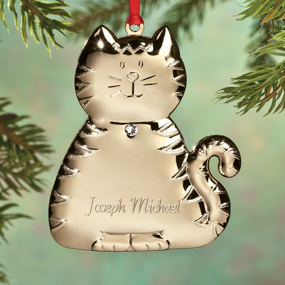 Personalized Birthstone Cat Ornament - View 2
