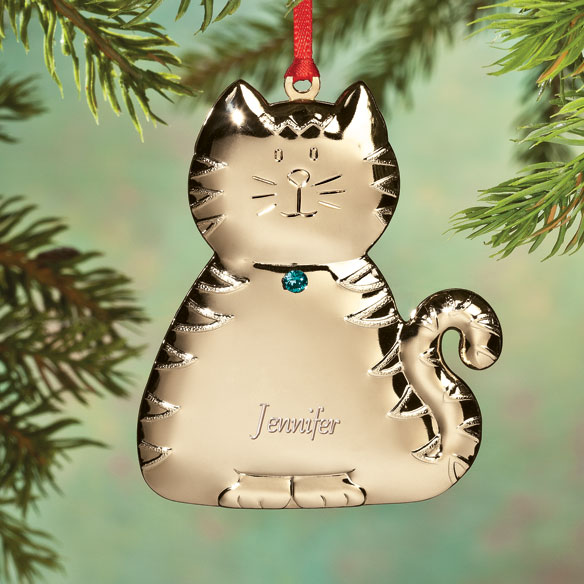 Personalized Birthstone Cat Ornament - View 3