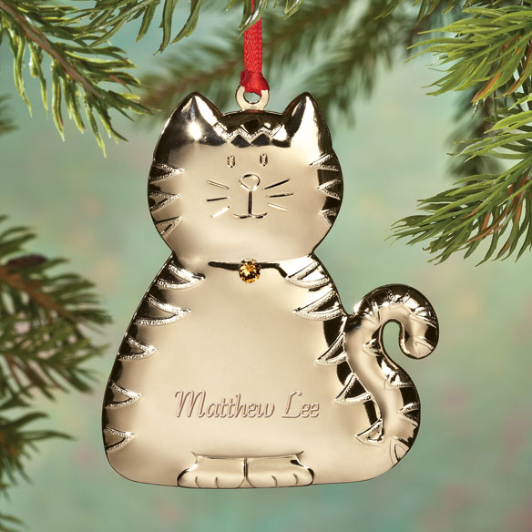 Personalized Birthstone Cat Ornament - View 4