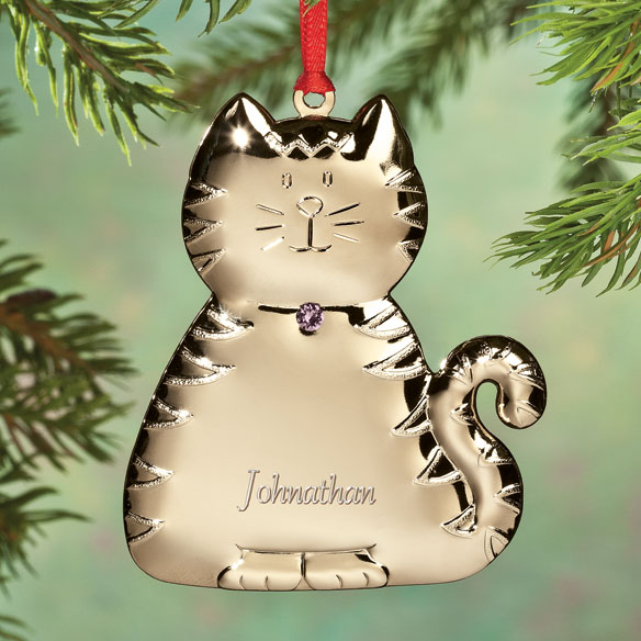 Personalized Birthstone Cat Ornament - View 5