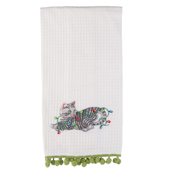 Christmas Pet in Lights Waffle Towel - View 2