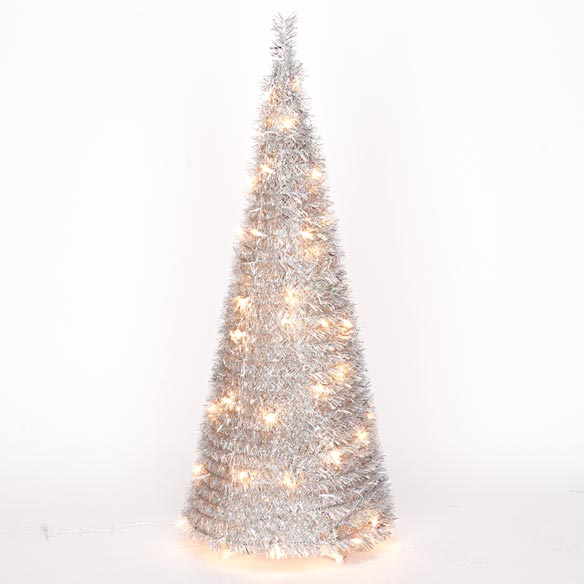 4-Foot Silver Tinsel Pull-Up Tree with Lights - View 3