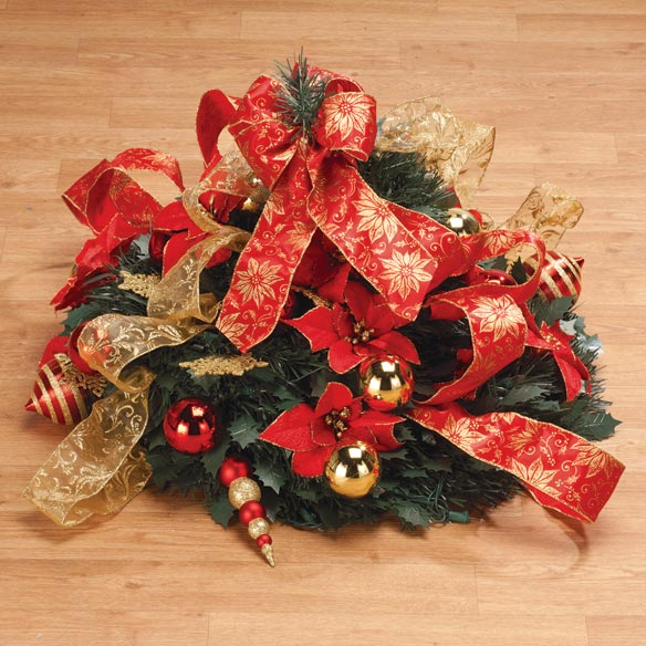 4 ft Pull Up Fully Decorated Prelit Poinsettia Tree - View 2