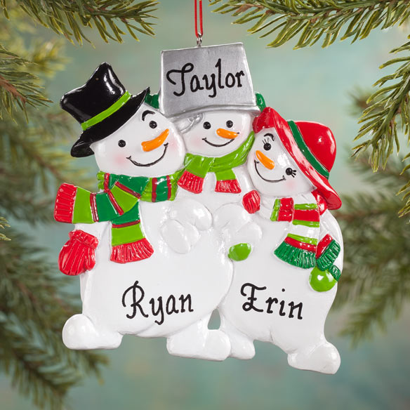 Personalized Snowman Family Ornaments - View 2