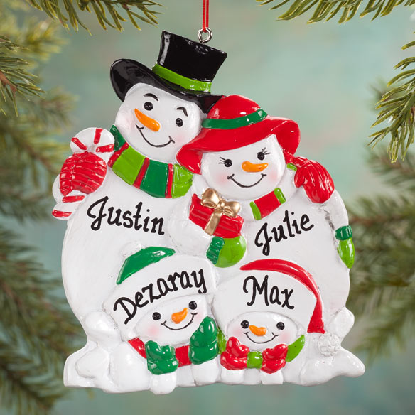 Personalized Snowman Family Ornaments - View 3