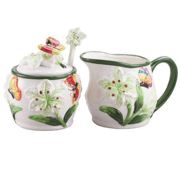 Butterfly Cream & Sugar Set - View 2