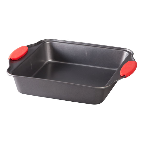Square Cake Pan with Red Silicone Handles by Home-Style Kitchen™ - View 2