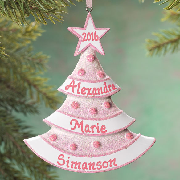Personalized Baby Glitter Tree Ornament - View 2