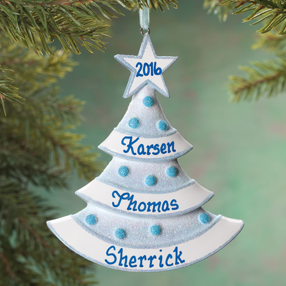 Personalized Baby Glitter Tree Ornament - View 3