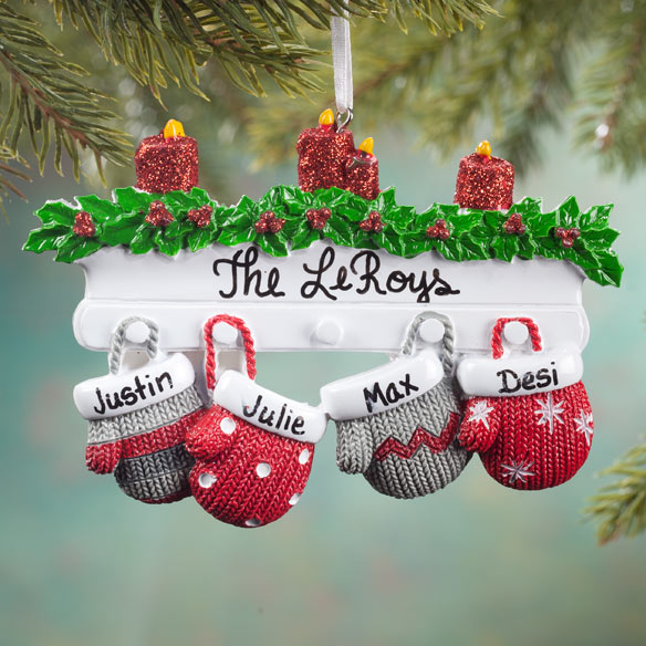 Personalized Family Mittens Ornament - View 3