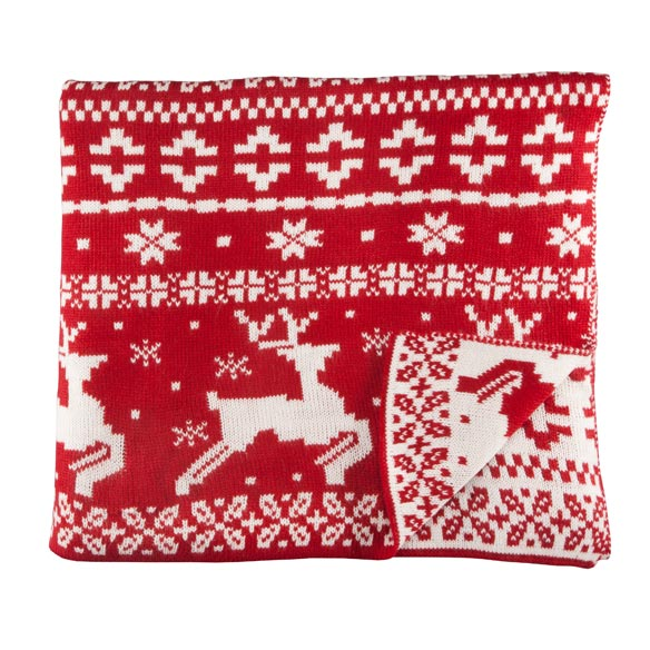 Reversible Deer Knit Throw - View 2
