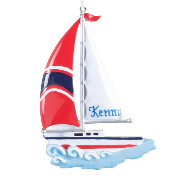 Personalized Sailboat Ornament - View 2
