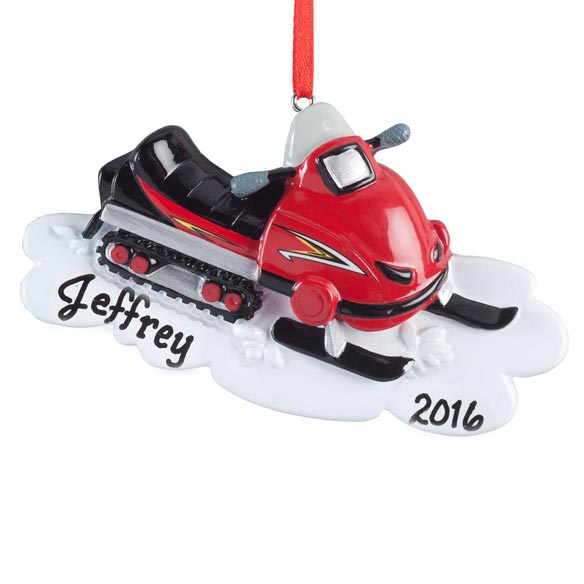 Personalized Snowmobile Ornament - View 2