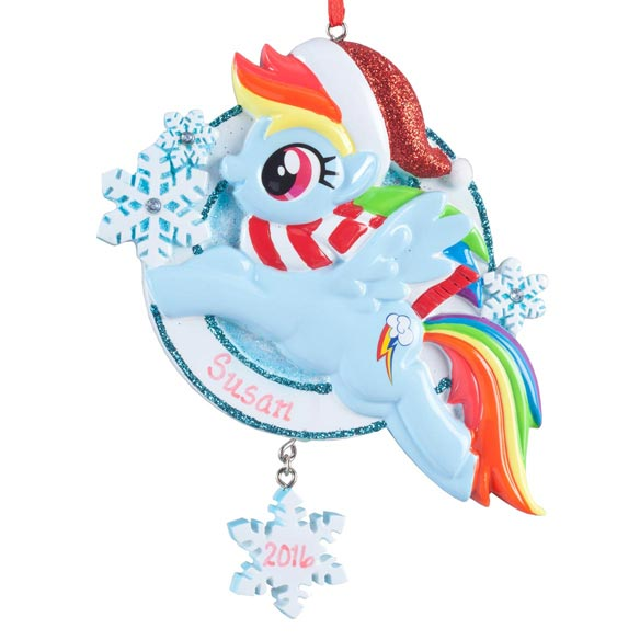 Personalized Blue Santa My Little Pony® Ornament - View 2