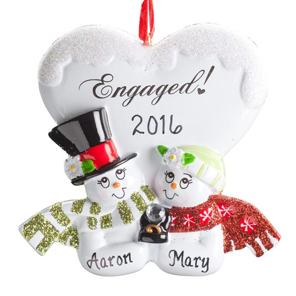 Personalized Engaged Snowmen Ornament - View 2