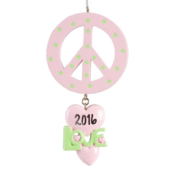 Personalized Peace and Love Ornament - View 2