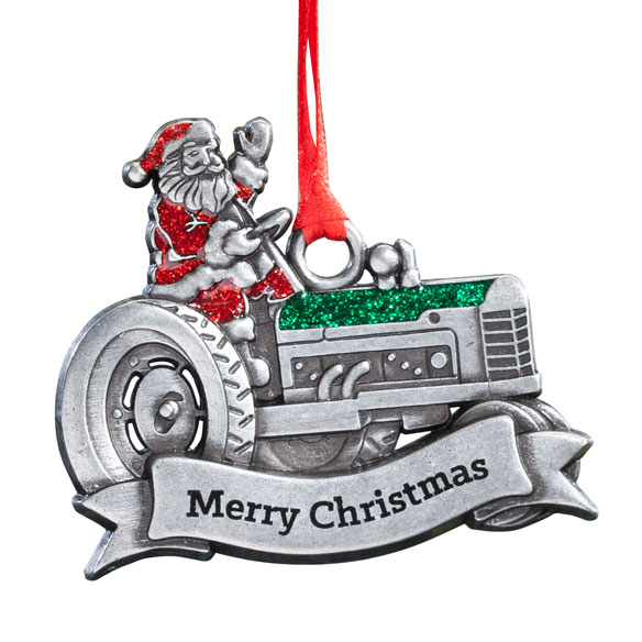 Pewter Merry Christmas Santa on Tractor Ornament - View 2