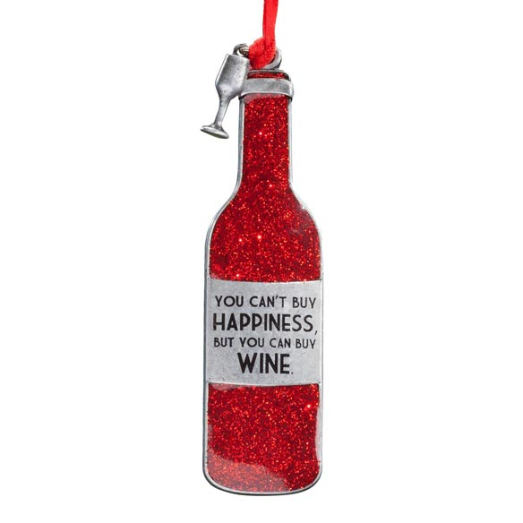 "Pewter ""You Can't Buy Happiness"" Wine Ornament - View 2"
