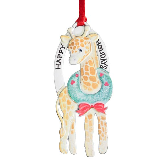 """Happy Holidays"" Giraffe Ornament - View 2"