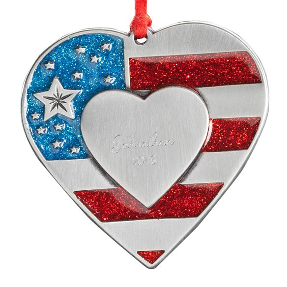 Personalized Pewter Patriotic Heart Ornament - View 2