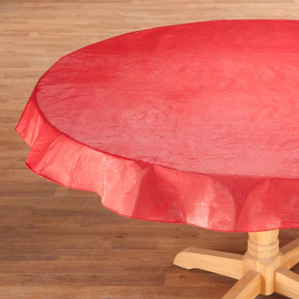 Solid Red Vinyl Table Cover - View 2