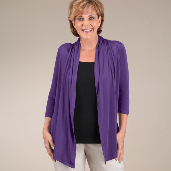 Two-in-One Top with 3/4-Length Sleeves - View 2