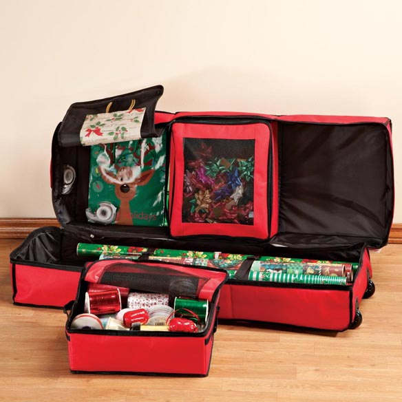 Gift Wrap Storage Bag Organizer with Wheels - View 3